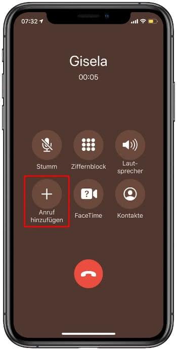 Anruf hinzufügen auf dem iPhone