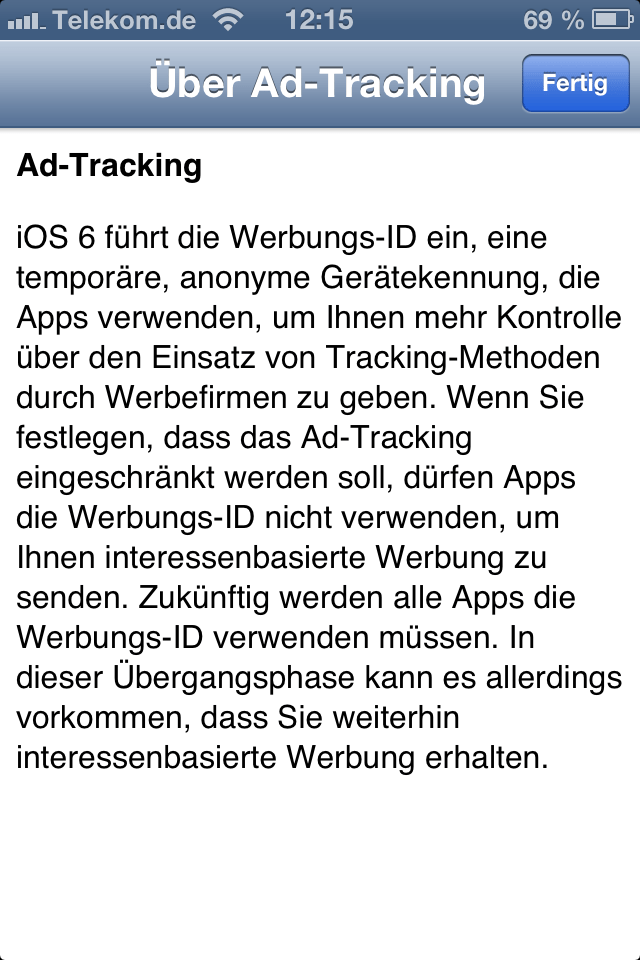 iOS 6 personalisierte Werbung (Ad-Tracking) deaktivieren