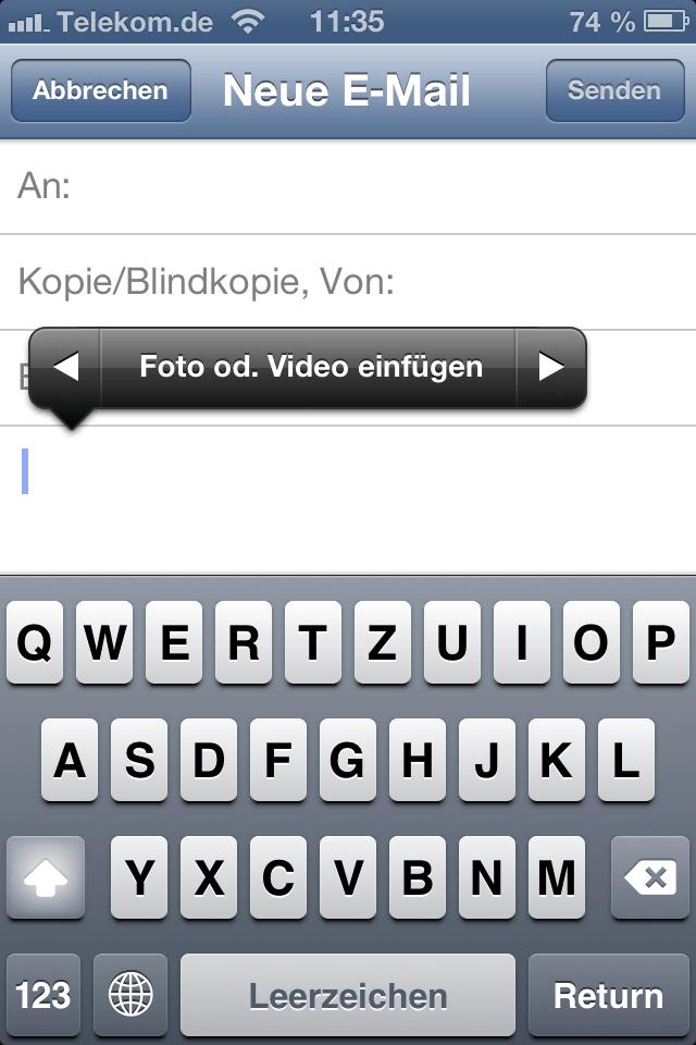 iOS 6 eMail Fotos oder Videos einfügen