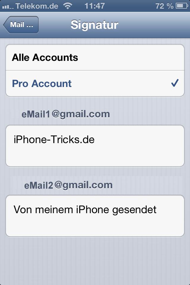 iOS 6 eMail Signaturen