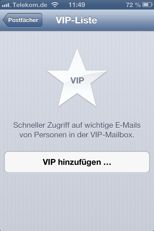 iOS 6 eMail VIP Liste