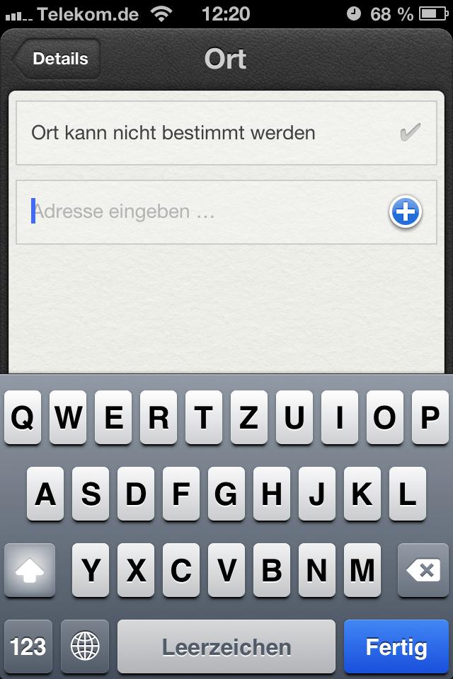 iOS 6 Erinnerungen mit manuellem Ort