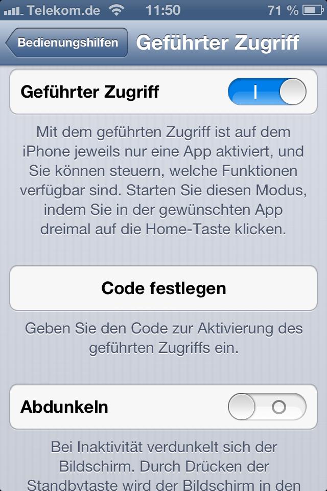 iOS 6 geführter Zugriff