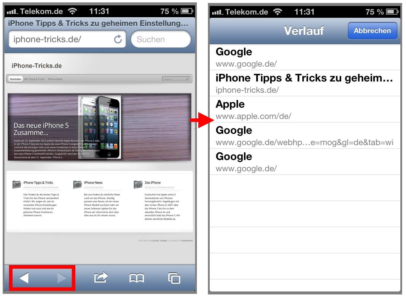iOS6 Safari Verlauf