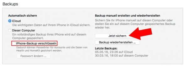 iPhone Backup erstellen mit iTunes