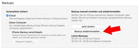 iPhone aus Backup wiederherstellen