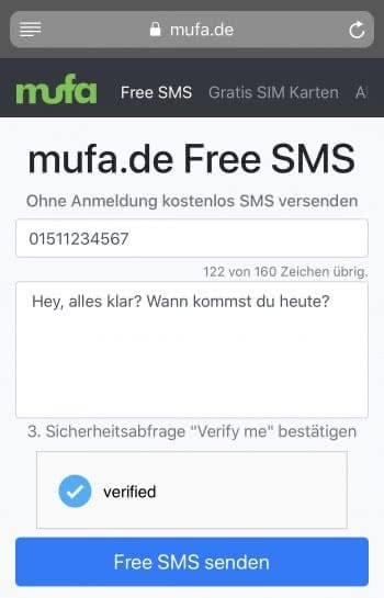Gratis SMS am iPhone verschicken mit der mufa-App