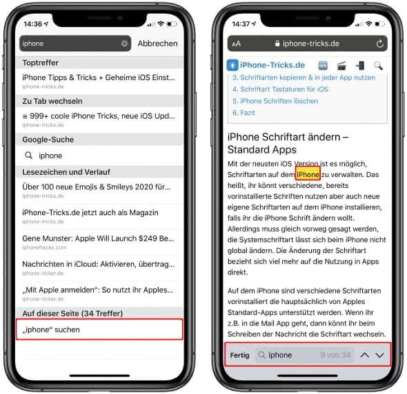 Webseite nach Stichwörtern durchsuchen in Safari