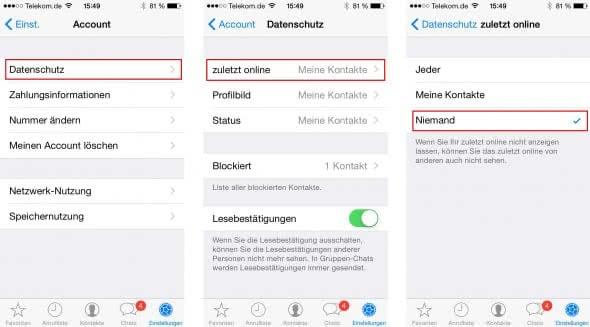 WhatsApp Online Status verbergen