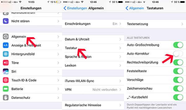 iPhone Auto-Korrektur deaktivieren