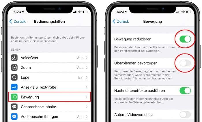 """""""Bewegung reduzieren"""" aktivieren und """"Überblenden bevorzugen"""" deaktivieren"""