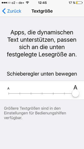 iPhone Schriftgröße ändern