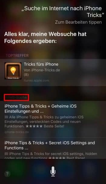 Bing-Zwang für Siri