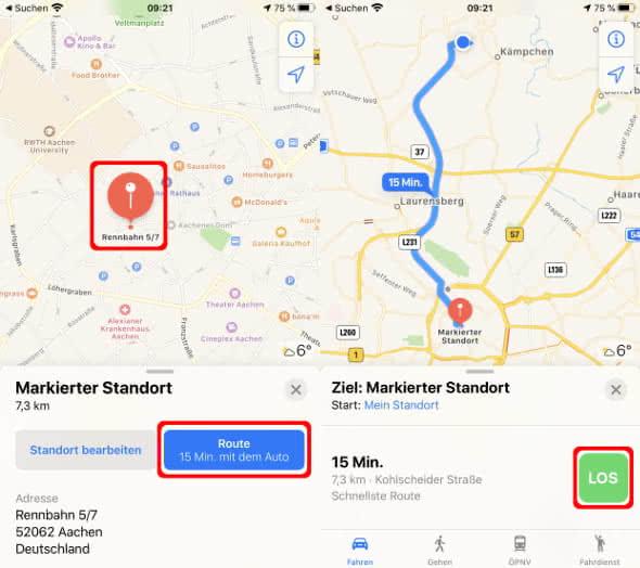 Stecknadel-Trick in der Apple Karten-App