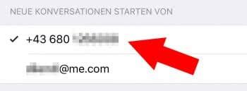 iMessage: Mobilnummer statt E-Mail-Adresse verwenden