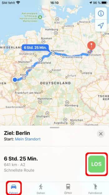Navigation in der Karten-App starten