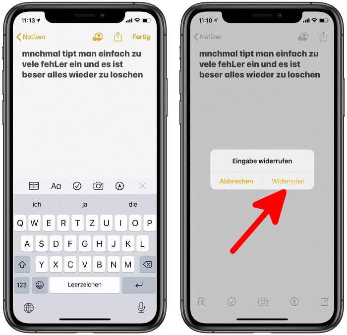 Eingabe wiederrufen in der Notizen-App