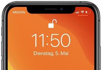 Uhrzeit und Datum am iPhone-Sperrbildschirm