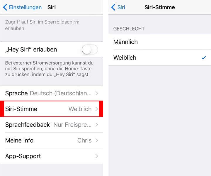 Siri Stimme ändern
