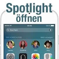Spotlight-Suche aufrufen und iPhone durchsuchen