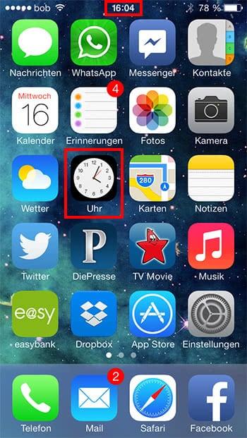 Uhr als hintergrund app iphone
