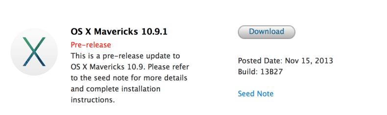 Mac OS X Mavericks 10.9.1 Beta