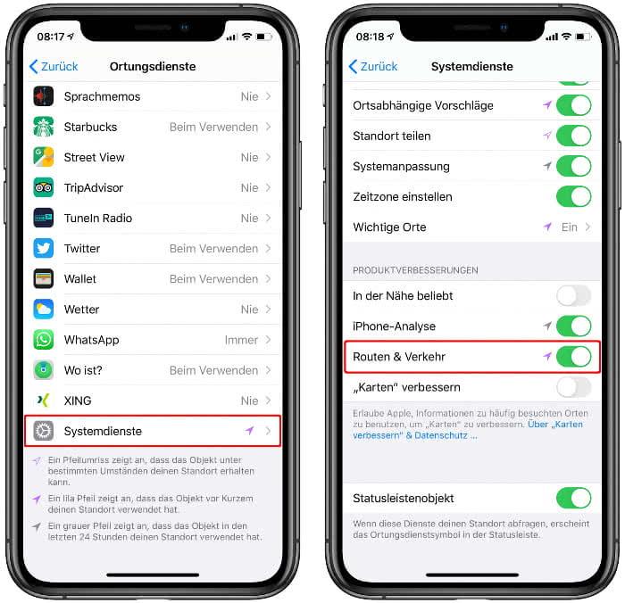 """""""Routen & Verkehr"""" in der Apple Karten-App aktivieren"""