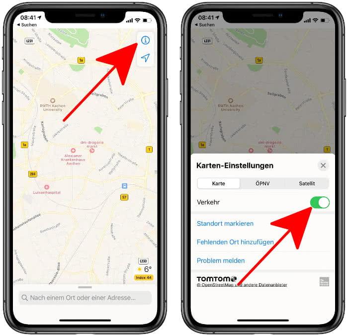 """""""Verkehr"""" aktivieren in der Karten-App"""
