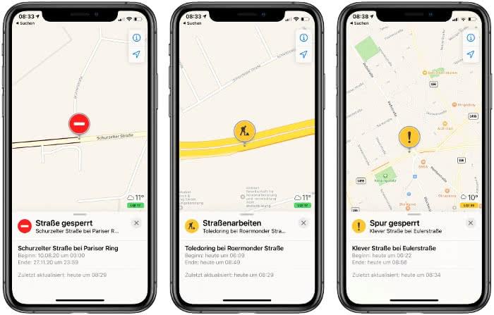 Verkehrsinfos in der Karten-App