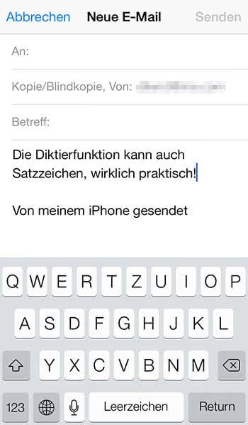 iPhone Diktierfunktion erkennt auch Satzzeichen