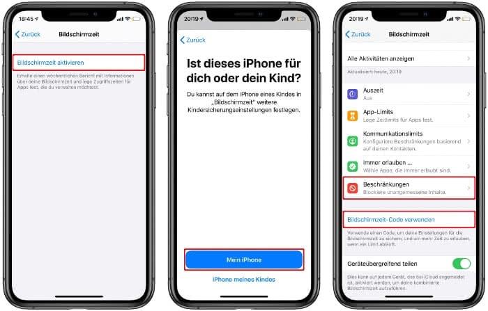 Bildschirmzeit aktivieren auf dem iPhone