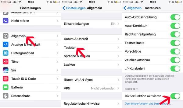 iPhone Diktierfunktion aktivieren