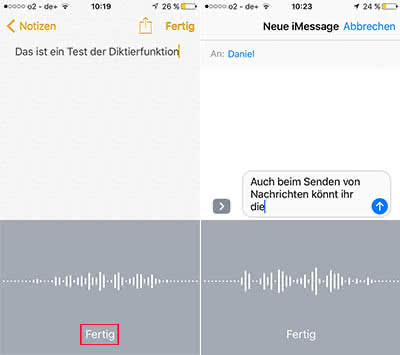 iPhone Diktierfunktion in Notizen und iMessage