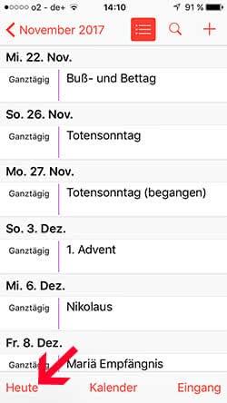iPhone Kalender Listenansicht