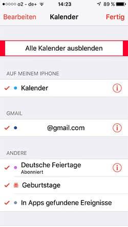 iPhone Kalender Listenansicht aktivieren