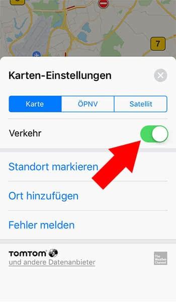 In iPhone Karten-App Verkehrsinfo aktivieren