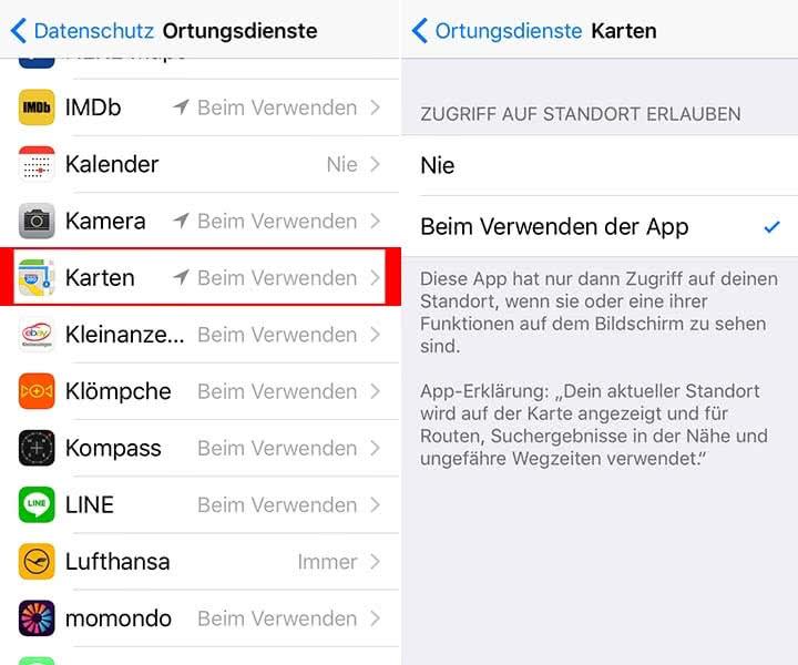 Ortungsdienste aktivieren für Karten App auf dem iPhone