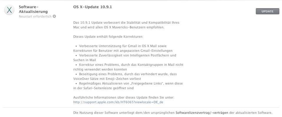 Mac OS X 10.9.1 Mavericks Update