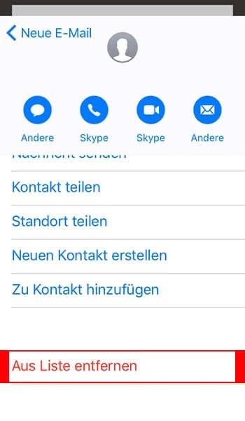 Am iPhone Mail-Adressen aus der Empfängerliste entfernen