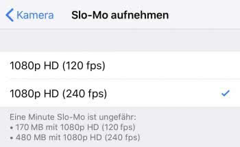 Bilder pro Sekunde auswählen für iPhone Slow-Motion-Video
