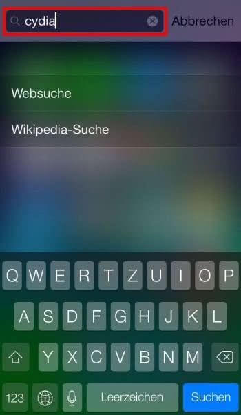 Nach Cydia-App in Spotlight suchen