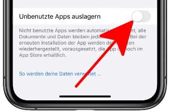 """""""Unbenutzte Apps auslagern"""" deaktivieren"""