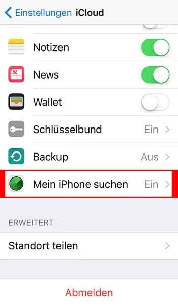 """""""Mein iPhone suchen"""" aktivieren"""