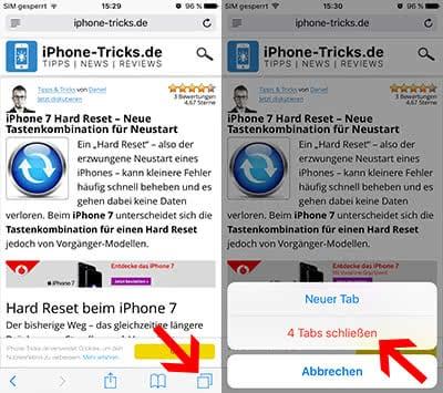 Alle Safari Tabs auf dem iPhone auf einmal schließen in iOS 10