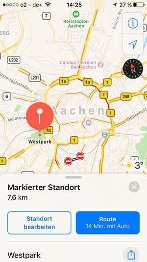 Stecknadeln setzen in Apple Maps auf dem iPhone
