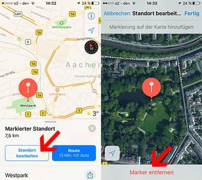 Stecknadeln entfernen in Apple Maps auf dem iPhone
