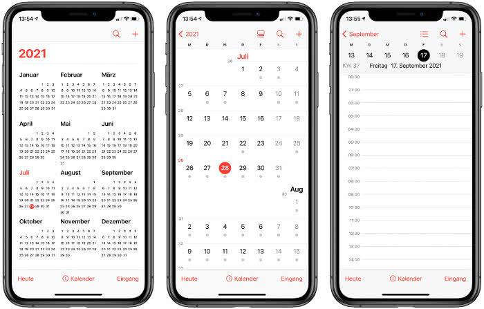 Ansichten in der Kalender-App