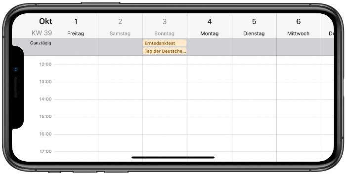Wochenansicht in der Kalender-App
