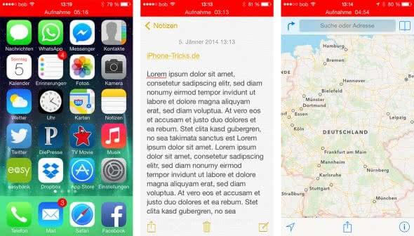 iPhone Sprachmemos erstellen im Hintergrund
