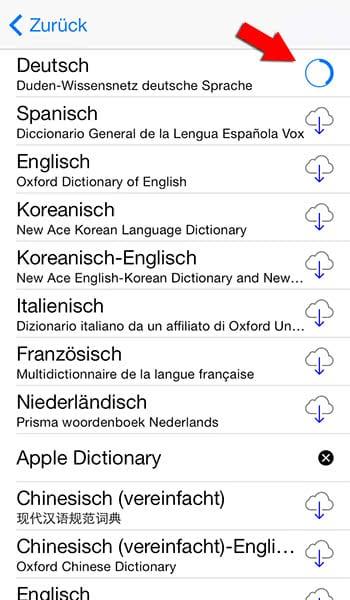 iPhone Wörterbuch nutzen
